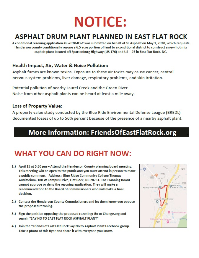 East Flat Rock Opposes Proposed Asphalt Plant