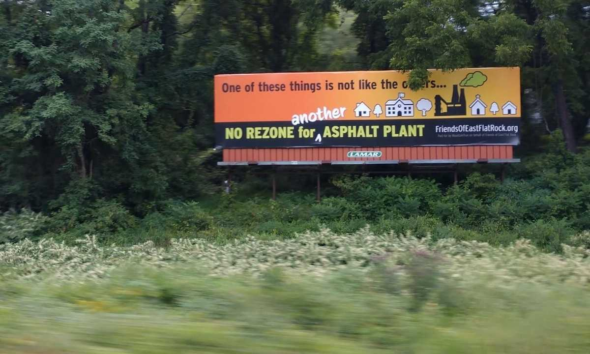 No REZONE for Asphalt Plant billboard sign